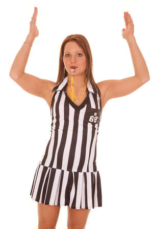 signalling: A woman referee is signalling a touchdown call. Stock Photo