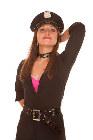 policewomen: A female cop is holding her hand behind her head. Stock Photo