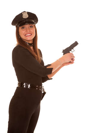 policewomen: A woman is holding a pistol with a panicked face expression.