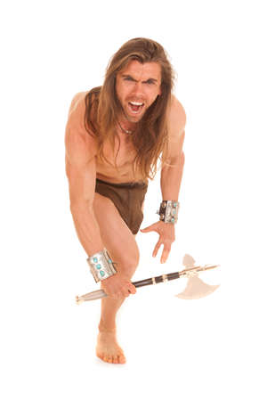 crazed: a man with a crazed expression on his face holding on to his hatchet.