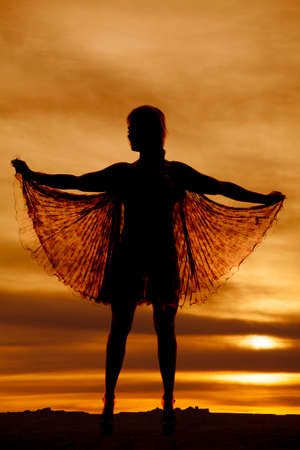 A woman in a see through dress silhouetted in the sunset. photo
