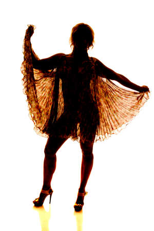 The silhouette of a woman with a see through dress showing her body. photo