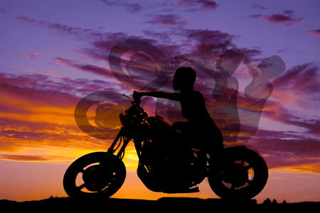 A silhouette of a woman riding her motorcycle with different motion. photo
