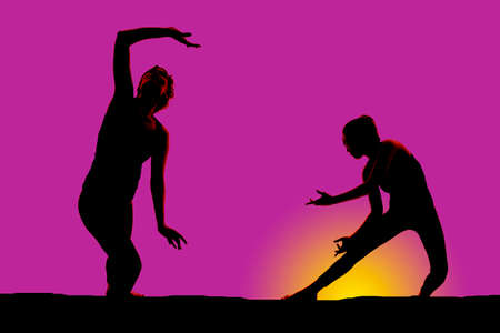 A woman is dancing in the sunset in two positions silhouetted. photo