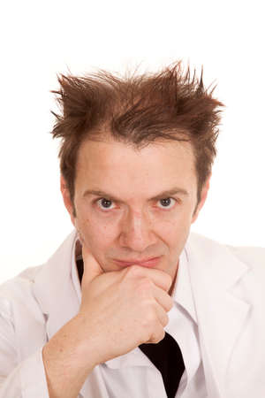 messed up: A doctor with messed up hair thinking and looking.