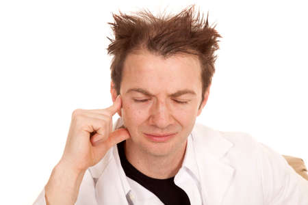 messed up: A doctor with messed up hair and his eyes closed.