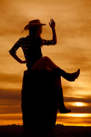 A silhouette of a cowgirl sitting on a barrel with her arm up.