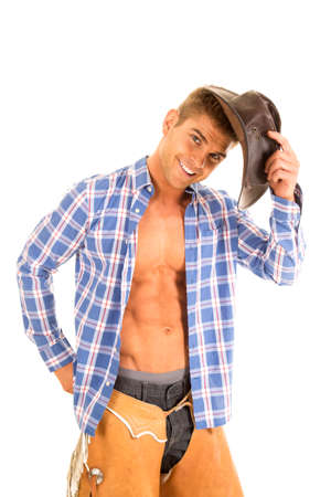 shirt unbuttoned: A cowboy with a smile putting his hat on his head, with his shirt unbuttoned.