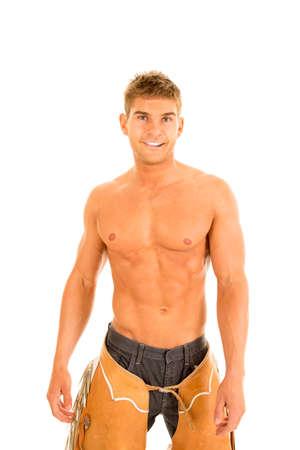 nackte brust: Ein Cowboy mit einem nackten Brust seine Chaps mit einem L�cheln.