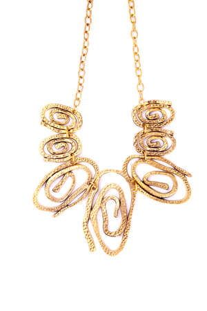handing: A necklace with crazy circles handing on the chain.