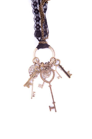 A necklace lace chain with keys dangling from it.