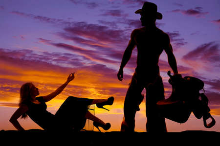 A silhouette of a woman in a dress reaching up towards her cowboy