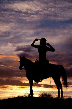 redneck: A silhouette of a woman in the outdoors sitting on her horse.