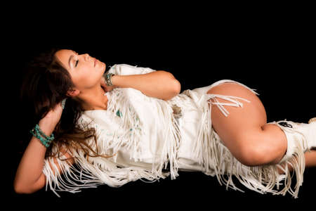 american sexy: a Native American laying on her side, with her eyes closed.