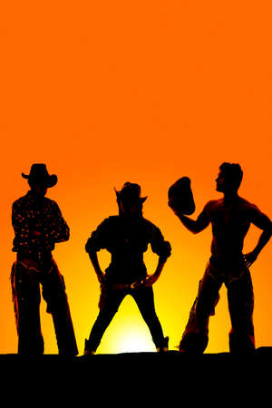 a silhouette of a cowgirl in the middle of two cowboys in the outdoors. photo