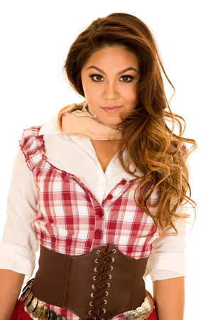 red plaid: a woman in her red plaid top, looking with a sensual expression on her face. Stock Photo