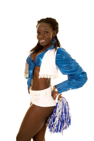 pom poms: An African American woman in her cheer chostume with pom poms.