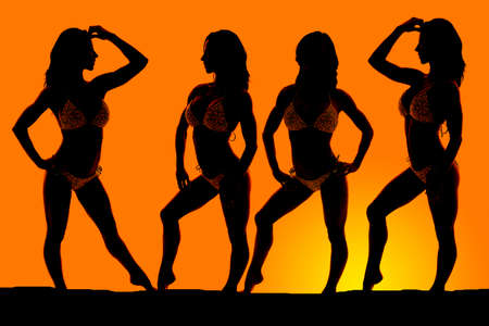 A silhouette of a woman in different positions in the outdoors.