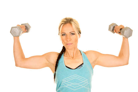 tight fit: a woman doing upper arm curls with weights.