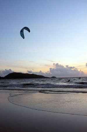 water skiing: Parachute water skiing Stock Photo