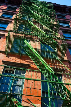 tenement: New York tenement fire escapes Stock Photo