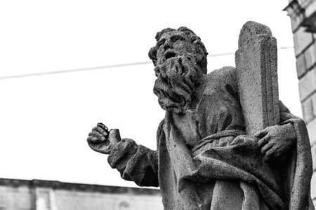baroque architecture: Acireale Sicily Italy: Historic baroque architecture Moses39 statues Stock Photo
