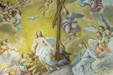 iconography: A colorful Italian Renaissance fresco on the arched ceiling of an ancient church.