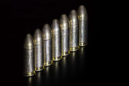 full jacket bullet: The bullets on black background Stock Photo