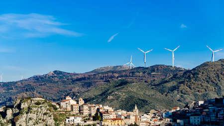 eolic: The Eolic turbines in the italian mountains Stock Photo