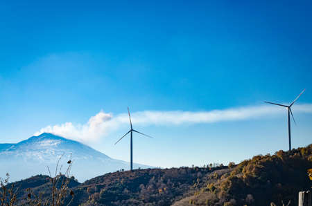 eolic: Eolic Turbines with the volcano in background Stock Photo