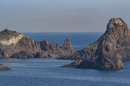 aeolian: View of  sicilian rocks on sea Faraglioni Stock Photo