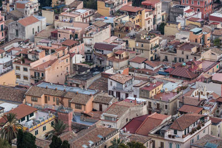 aereal: Aereal view of sicilian houses, Italy. Stock Photo
