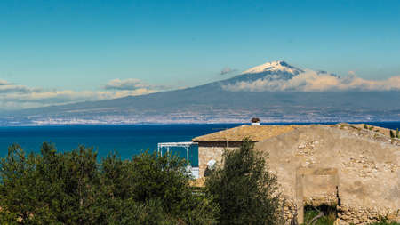 rolling landscapes: View of volcano Etna from Siracuse - Sicily Stock Photo