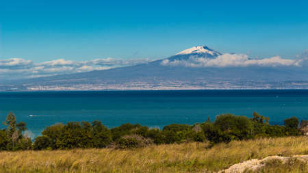 siracuse: View of volcano Etna from Siracuse - Sicily Stock Photo