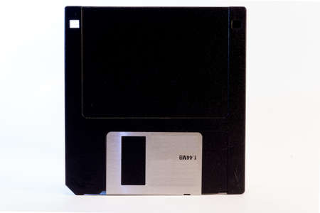 Detail of an old black floppy disk