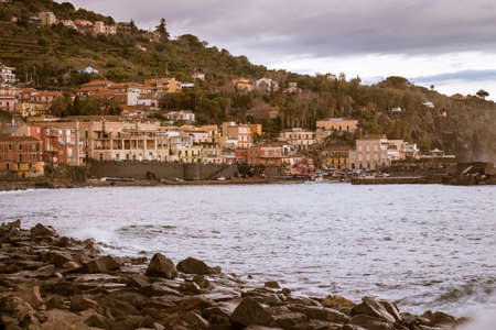 castellammare del golfo: View of Sea port and houses at Acireale - Italy.