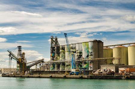 catania: Grain Silos at Port Catania, Sicily - Italy. Stock Photo
