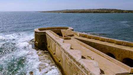 syracuse: Scenic view of Maniace castle on sea, Syracuse, Sicily, Italy