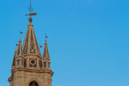 baroque architecture: Detail of bell-towers  San Sebastian Church -baroque architecture