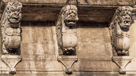 decorative balconies: The detail of a baroque balcony in sicily Stock Photo