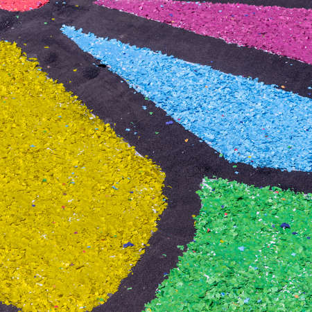The colored confetti on the ground, useful for background Stock Photo