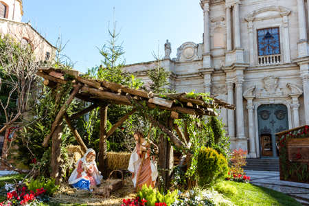 A typical Italian nativity scene next to the cathedral