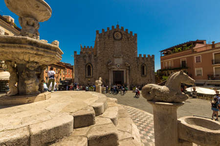TAORMINA ITALY - MAY 07 2017: The ancient Basilica of Taormina is guarded by soldiers awaiting for 2017 G7 Summit.