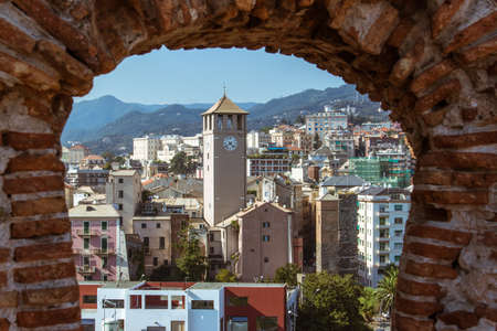 View of the city of Savona (Italy) from the castle Priamar