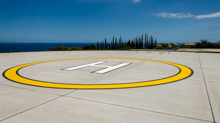 24 month old: Heliport on an intense blue Sicilian sea Stock Photo