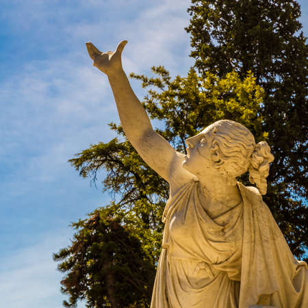The marble statue depicting the goddess Galatea in the Sicilian gardens of Acireale Stock Photo
