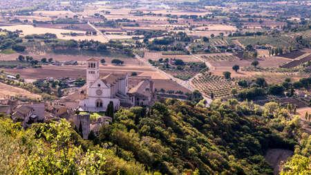 Areal view fo St. Francis of Assisi Church. St. Francis is the patron saint of Italy. The bell tower can be seen from miles away.