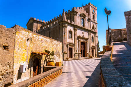 View of a small Sicilian village. The town was the location for the scenes set in Corleone of Francis Ford Coppola's The Godfather. Stock Photo