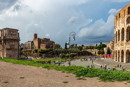 View of the Colosseum or Coliseum, also known as the Flavian Amphitheatre.