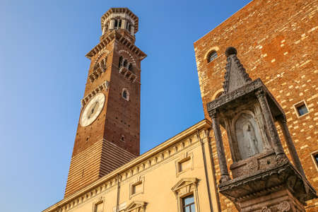 The Torre dei Lamberti is a medieval tower in Verona (Italy), 84 meters high, which rises from Piazza Erbe, the ancient Roman Forum, in the historic center of the city.